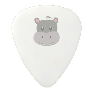 cute hippo with bird polycarbonate guitar pick