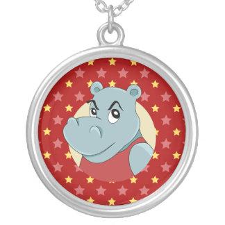 Cute hippopotamus cartoon silver plated necklace