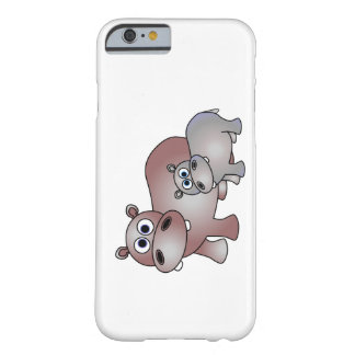 Cute Hippopotamus Mom and Baby Barely There iPhone 6 Case
