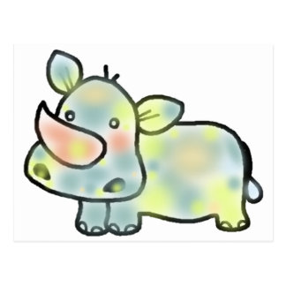 Cute hippopotamus postcard