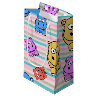 Cute Hippos Colorful Zoo Animal Theme for Children Small Gift Bag