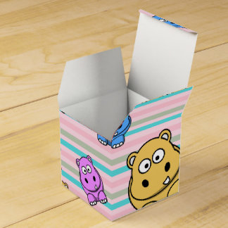 Cute Hippos Colourful Zoo Animal Theme for Wedding Favor Boxes