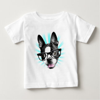 Cute! Hipster Boston Terrier Baby T-Shirt