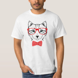 Cute hipster cat portrait T-Shirt
