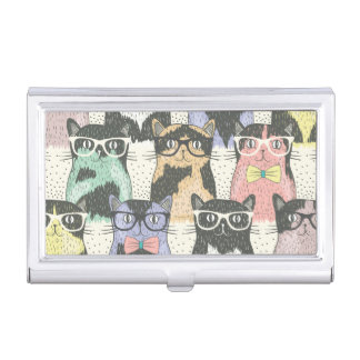 Cute Hipster Cats Pattern Business Card Holders
