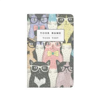Cute Hipster Cats Pattern Journals