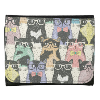 Cute Hipster Cats Pattern Leather Wallet