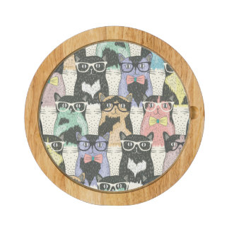 Cute Hipster Cats Pattern Rectangular Cheese Board