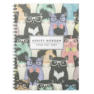 Cute Hipster Cats Pattern Spiral Notebook