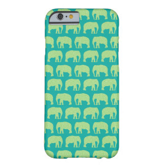Cute Hipster Elephant Pattern Teal Green Barely There iPhone 6 Case
