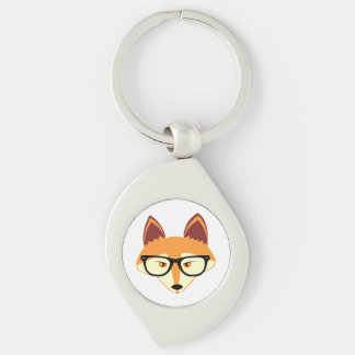 Cute Hipster Fox with Glasses Silver-Colored Swirl Keychain