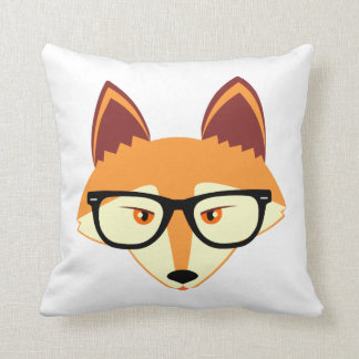 Cute Hipster Fox with Glasses Throw Pillow