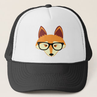 Cute Hipster Fox with Glasses Trucker Hat