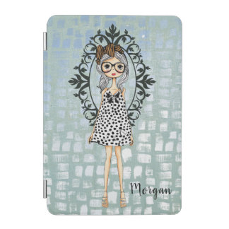 Cute Hipster Girl with Glasses iPad Mini Cover