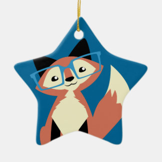 Cute Hipster Glasses Fox Ceramic Star Ornament