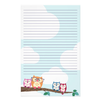 Cute Hipster Glasses Owl Stationery