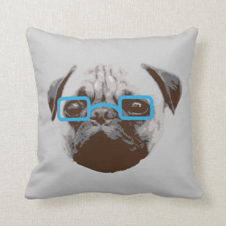 Cute Hipster Pug with glasses Throw Pillow