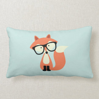 Cute Hipster Red Fox and Mint Chevron Pattern Pillow