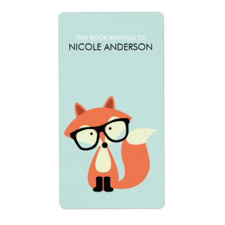 Cute Hipster Red Fox Bookplate Shipping Label
