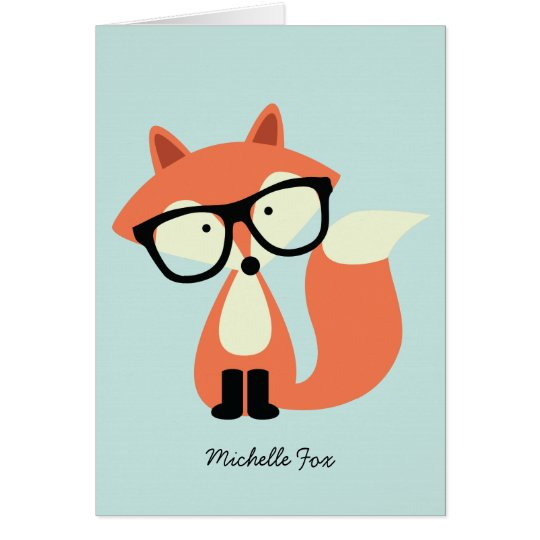 Cute Hipster Red Fox Folded Thank You Notes