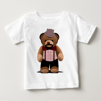Cute Hipster Teddy Bear With Beard Baby T-Shirt