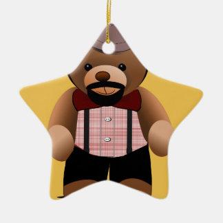 Cute Hipster Teddy Bear With Beard Ceramic Star Ornament