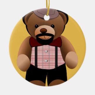 Cute Hipster Teddy Bear With Beard Round Ceramic Ornament