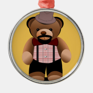 Cute Hipster Teddy Bear With Beard Silver-Colored Round Ornament