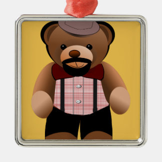 Cute Hipster Teddy Bear With Beard Silver-Colored Square Ornament