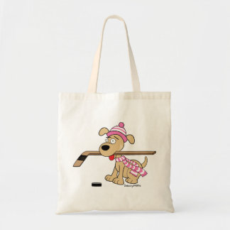 Cute Hockey Dog Girls Pink Hockey Kids Youth Tote Bag