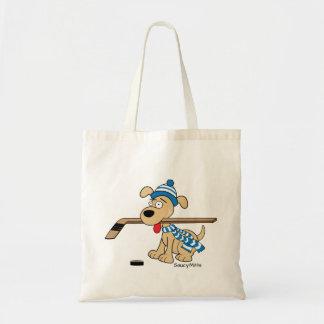 Cute Hockey Dog Kids Youth Blue Tote Bag