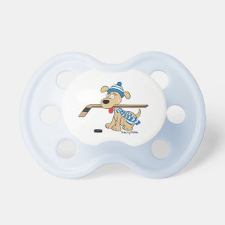Cute Hockey Dog with Hockey Stick Blue Pacifier