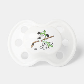 Cute Hockey Dog with Hockey Stick Green Baby Pacifier