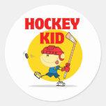 cute hockey kid cartoon character round sticker