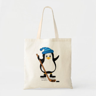 Cute Hockey Penguin with Hockey Stick Tote Bag