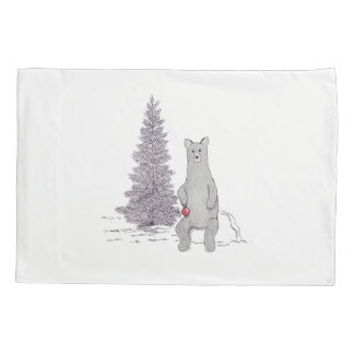 """Cute Holiday Bear Pillow. """"Let's Decorate!"""" Pillowcase"""