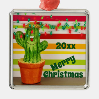 Cute Holiday Cactus Southwestern Merry Christmas Metal Ornament