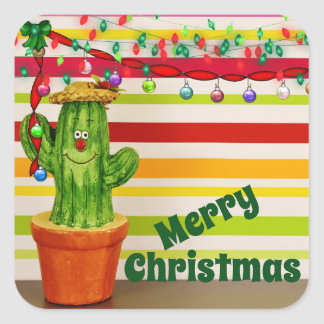 Cute Holiday Cactus Southwestern Merry Christmas Square Sticker