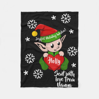 Cute Holiday Elf Personalized Fleece Blanket
