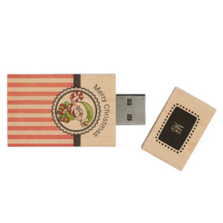 Cute Holiday Elf with Candy Cane Merry Christmas Wood USB Flash Drive