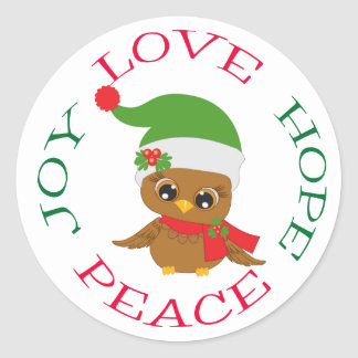 Cute Holiday Owl Hope Classic Round Sticker