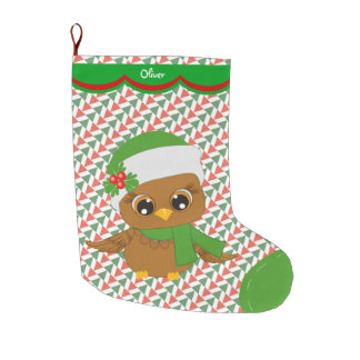 Cute Holiday Owl Pattern Personalized Large Christmas Stocking
