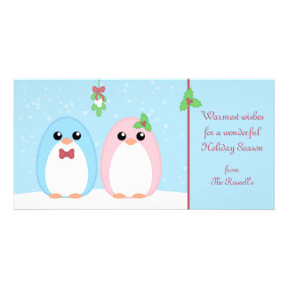 Cute Holiday Penguin Couple Photo Greeting Card
