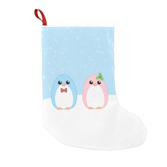 Cute Holiday Penguin Couple Small Christmas Stocking