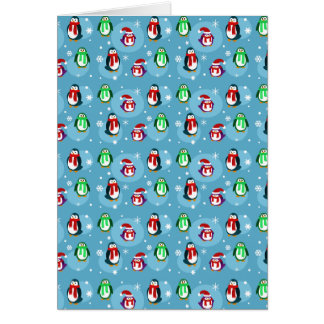 Cute Holiday Penguin Pattern Greeting Card
