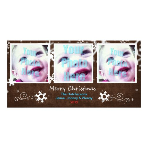 Cute Holiday Snowflake 3 Window Card Mocha - Photo Cards