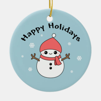 Cute Holiday Snowman Ceramic Ornament