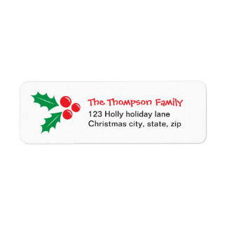 Cute holly and red berries family Christmas Return Address Label