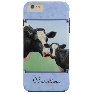 Cute Holstein Calf & Cow Sky Blue Tough iPhone 6 Plus Case