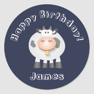 Cute Holy Cow Funny Happy Birthday Party Decor Classic Round Sticker